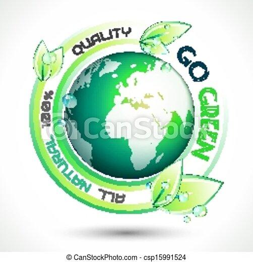écologie, slogan, apparenté, arrière-plan vert, conceptuel - csp15991524