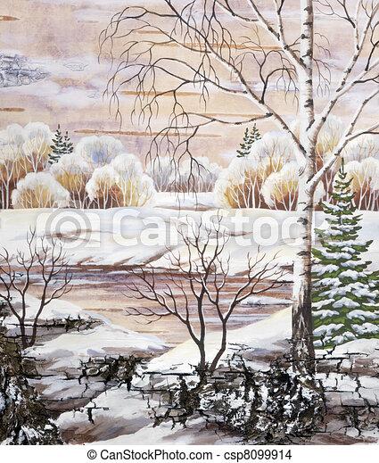 Corce paysage distemper paysage naturel hiver - Dessiner un paysage d hiver ...