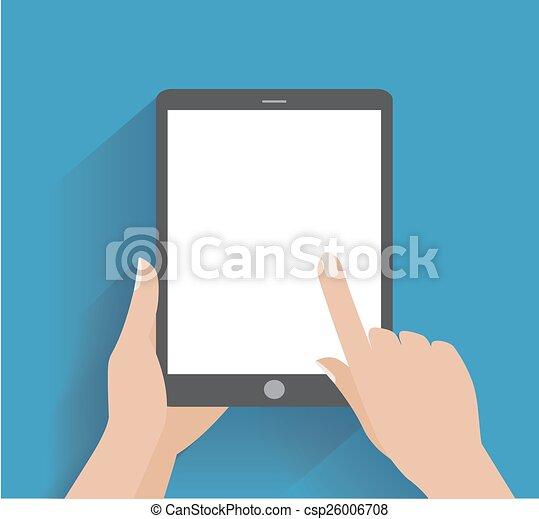 écran blanc, smartphone, tenant main - csp26006708