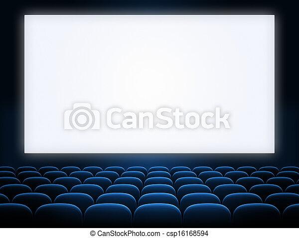 écran bleu, sièges, ouvert, cinéma - csp16168594