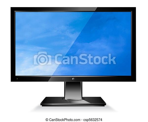 écran large, moniteur ordinateur, plat - csp5632574