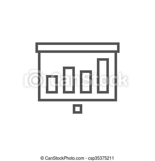 écran, ligne, icon., rouleau, projecteur - csp35375211