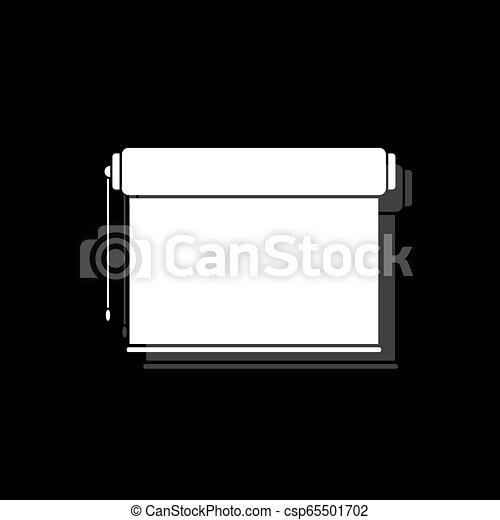 écran plat visualisation, projecteur, rouleau, icône - csp65501702