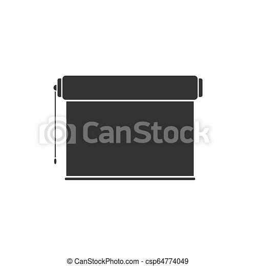 écran plat visualisation, projecteur, rouleau, icône - csp64774049