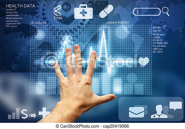 écran, toucher, données, monde médical, main - csp20419066