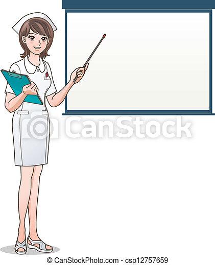 écran, vide, infirmière, pointage, jeune - csp12757659