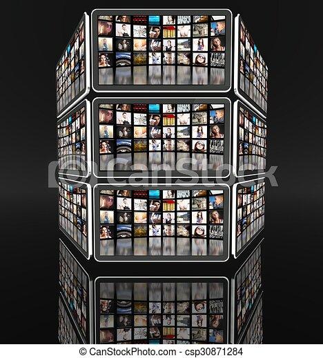 écrans, beaucoup, noir, tablette, icônes - csp30871284