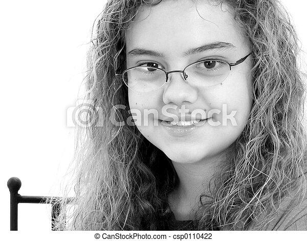 écriture, fille noire, année, 12, beau, vieux, blanc - csp0110422