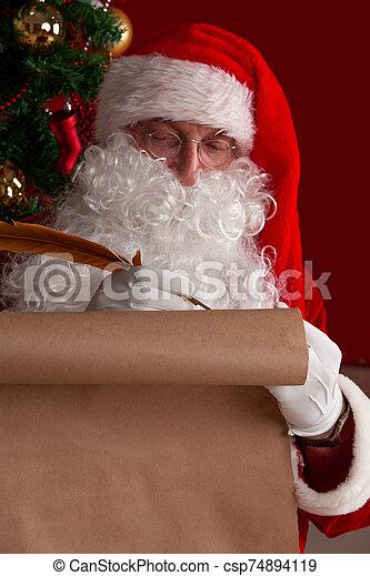 écriture, papier, vieux, claus, santa - csp74894119