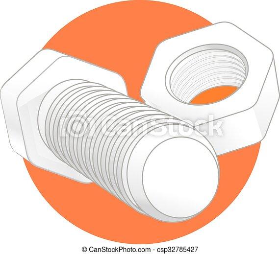 écrou, icône, boulon, isolé - csp32785427