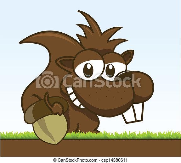 écureuil rayé, sien, tenue, gland - csp14380611