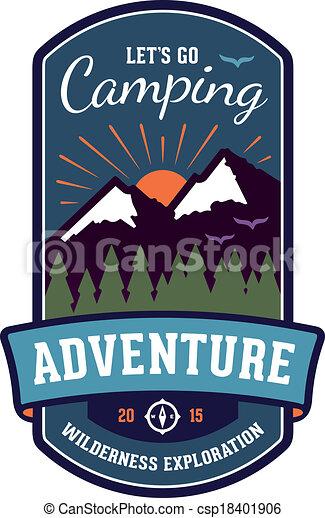 écusson, emblème, aventure, camping - csp18401906