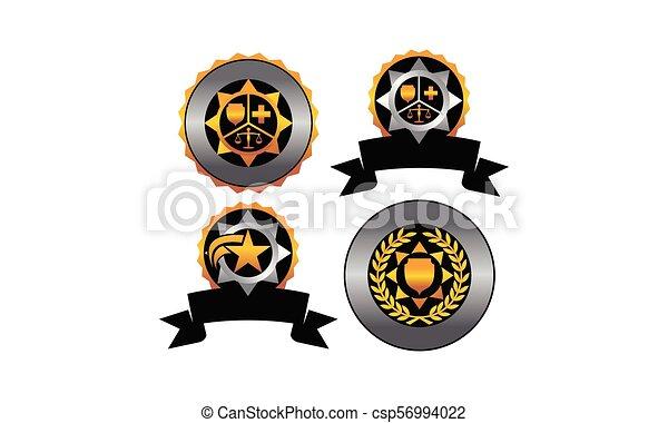 écusson, ensemble, étoile, gabarit, vide - csp56994022