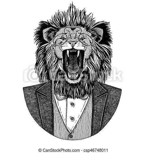 Ecusson Image Embleme Main T Shirt Lion Hipster Tatouage Animal Dessine Piece Logo