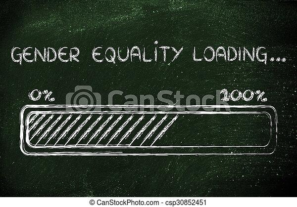 égalité, chargement, genre, illustration, progess, barre - csp30852451