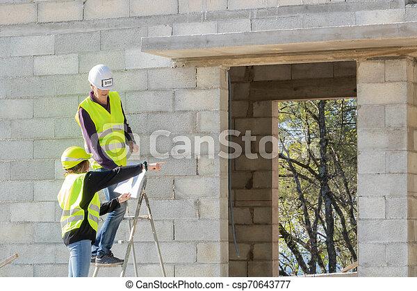 égalité, genre, commerces, construction, secteur, mâle, femmes - csp70643777