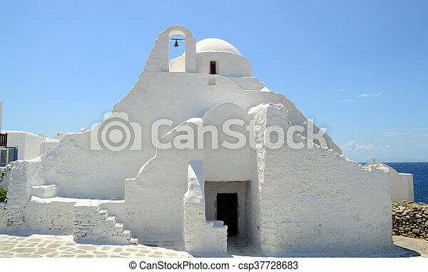 église, île, paraportiani, mykonos, panagia, grèce - csp37728683