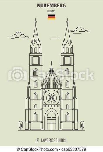 église, germany., repère, lawrence, icône, nuremberg, rue. - csp63307579