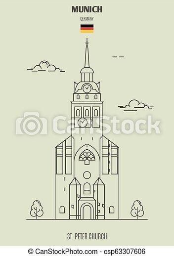 église, germany., repère, munich, peter, icône, rue. - csp63307606