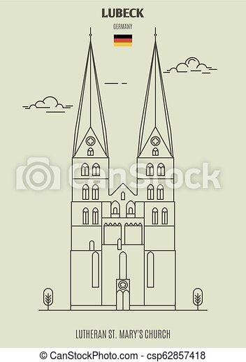 église, mary, germany., lutheran, lubeck, repère, icône, rue. - csp62857418