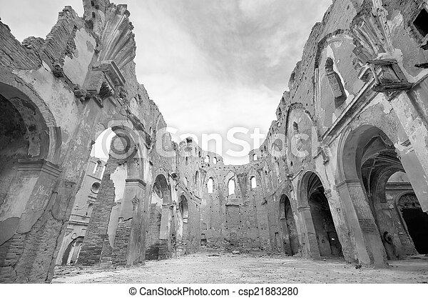 église Vieux Civil Espagnol Saragossa Détruit Belchite Guerre Noir Blanc Pendant Spain Ruines