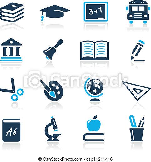 //, égszínkék, ikonok, oktatás, sorozat - csp11211416
