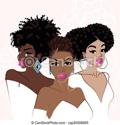 élégant, a peau noire, trois femmes - csp30306693