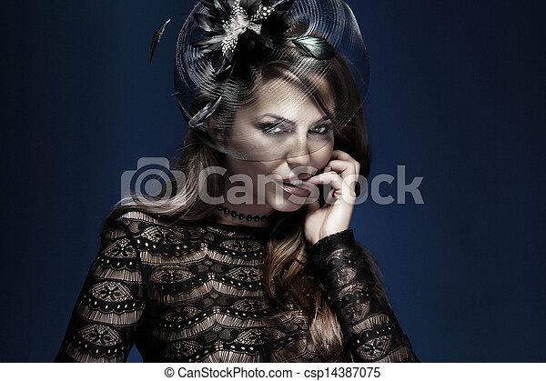 élégant, black., dame, séduisant, portrait - csp14387075