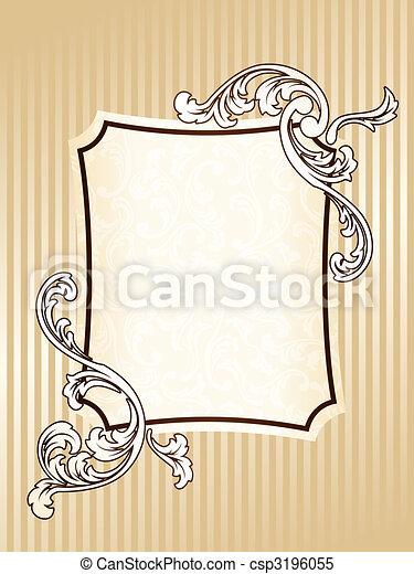 élégant, cadre, sépia, rectangulaire, vendange - csp3196055
