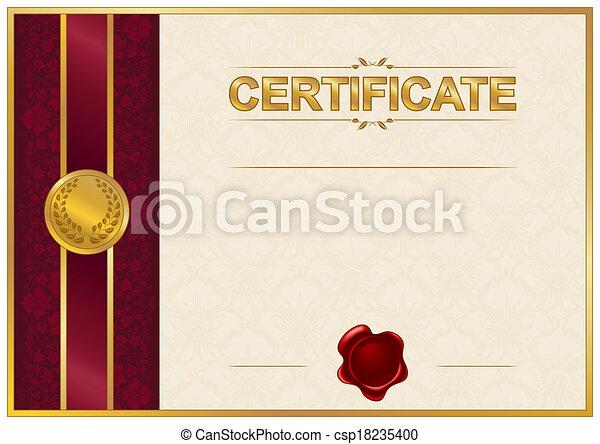 élégant, diplôme, gabarit, certificat - csp18235400