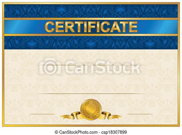 élégant, diplôme, gabarit, certificat - csp18307899