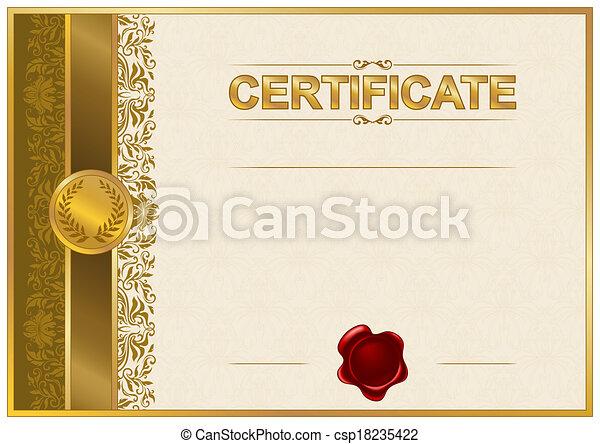 élégant, diplôme, gabarit, certificat - csp18235422