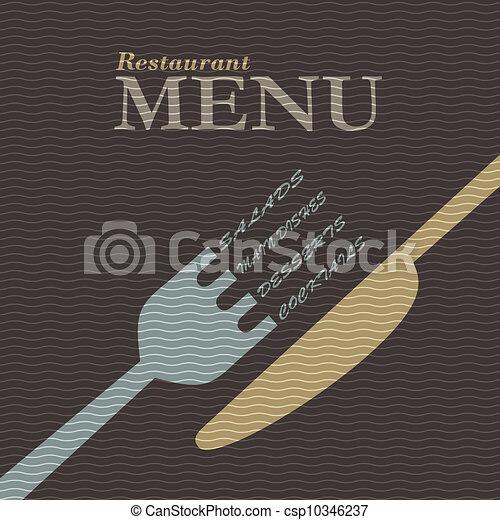 élégant, restaurant, conception, menu - csp10346237