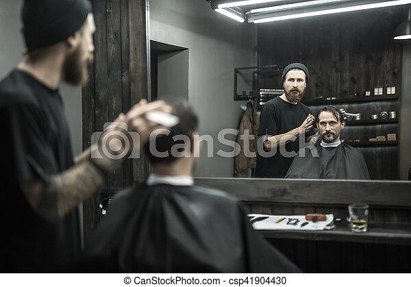 élégant, salon coiffure, homme