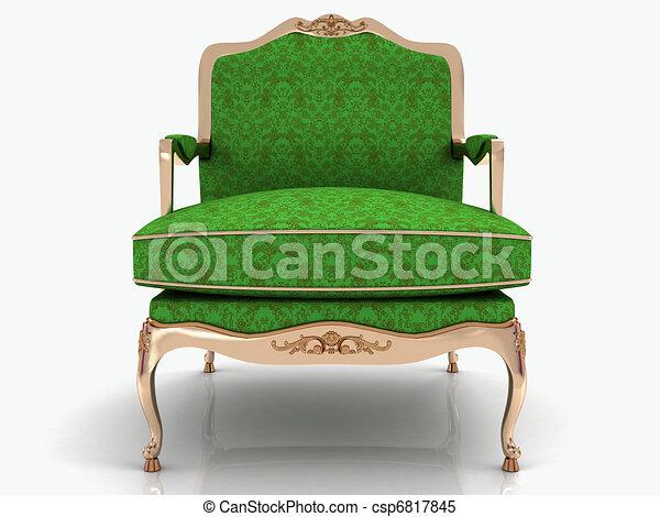 élégant, vert, classique, fauteuil - csp6817845