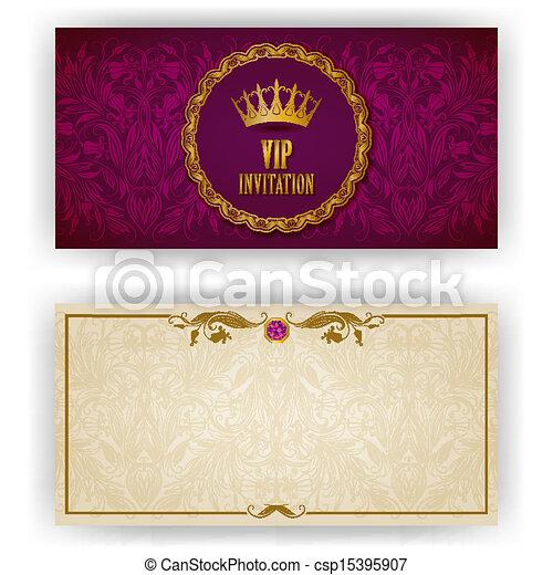 élégant, vip, luxe, gabarit, invitation - csp15395907