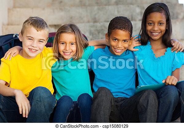 élémentaire, étudiants, école, dehors - csp15080129