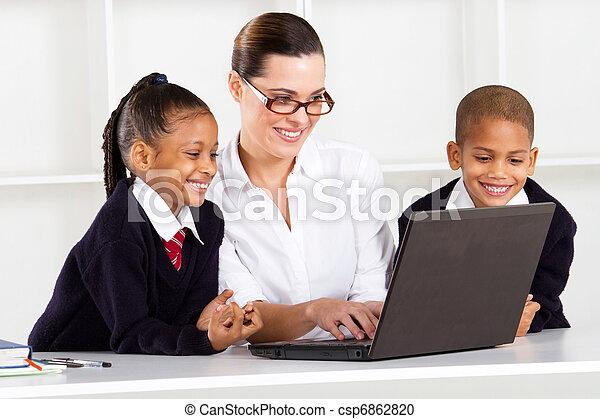 élémentaire, enseignement, prof, élèves - csp6862820