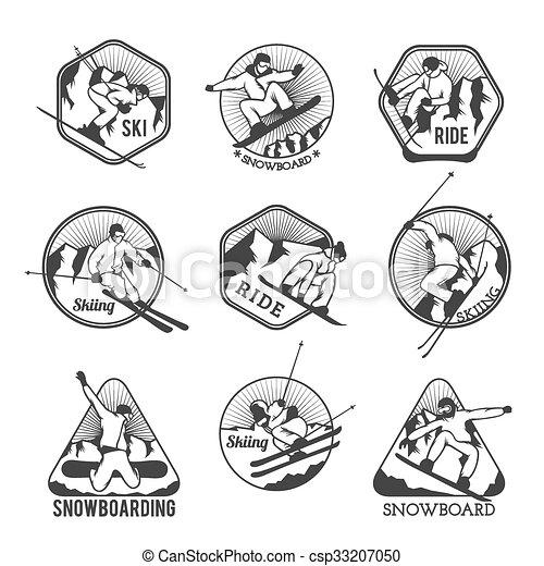 éléments, étiquettes, recours, vecteur, logo, emblèmes, ski, insignes - csp33207050