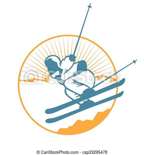 éléments, étiquettes, recours, vecteur, logo, emblèmes, ski, insignes - csp33295478