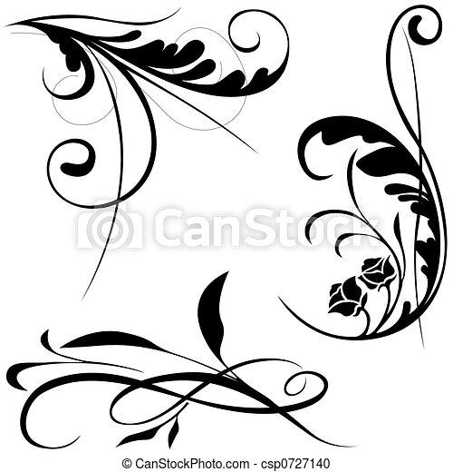 éléments, b, floral - csp0727140