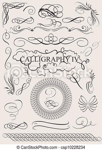 éléments, calligraphic, décoration, vecteur, conception, page, set: - csp10228234
