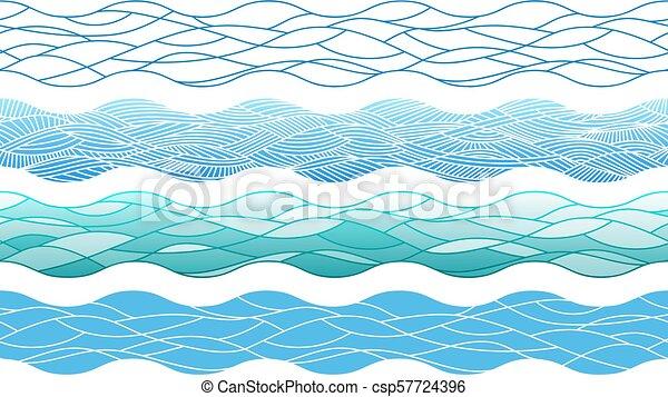 éléments, contour, main, dessiné, frontières, vagues océan, interminable - csp57724396