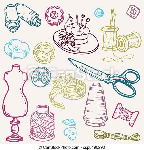 éléments, couture, -, main, vecteur, conception, doodles, dessiné, kit - csp8490290