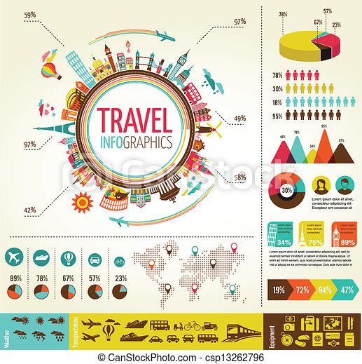 éléments, données, icônes voyage, infographics, tourisme - csp13262796