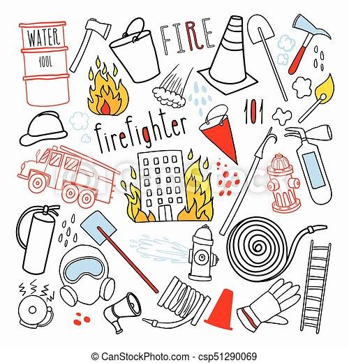 éléments, doodle., urgence, firefighting, set., illustration, main, vecteur, pompier, dessiné, pompier - csp51290069