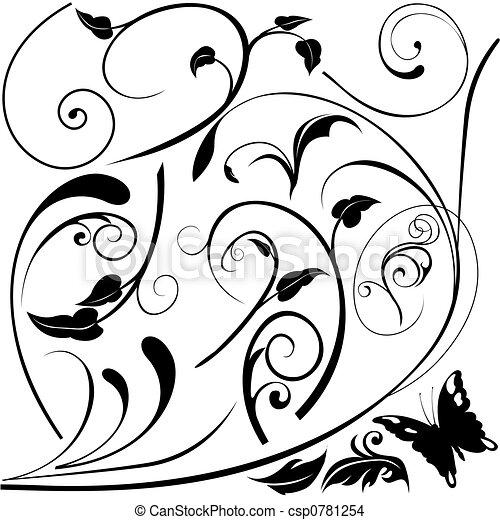 éléments, e, floral - csp0781254