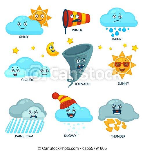 éléments, ensemble, signes, prévision, temps, faces - csp55791605