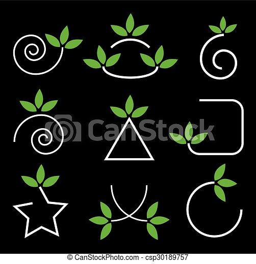 éléments, feuilles, ensemble, vert, conception - csp30189757