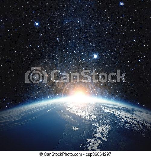 éléments, meublé, ceci, sur, nasa, earth., image, levers de soleil - csp36064297